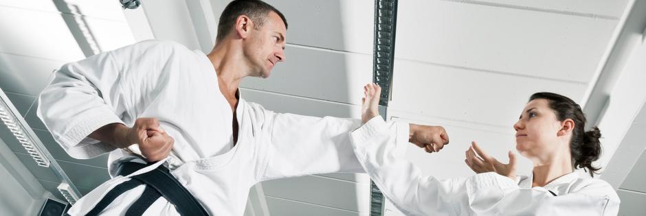 Martial artists in combat