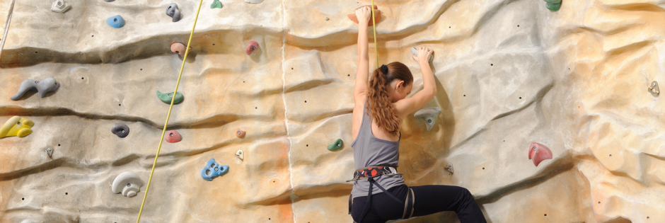 Young girl climbing