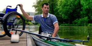 Wheelchair user canoeing