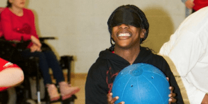 Children playing goalball